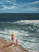 Jersey Shore Painting Originals - Beach Babes II by Pete Maier