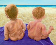 Tender Moment Framed Prints - Beach Babies Framed Print by Susan DeLain