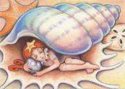Shells Drawings Prints - Beach Babys Treasure Print by Amy S Turner