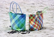 Sand Bags Prints - Beach Bags Print by Paulette  Thomas