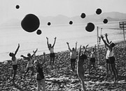 Human Interest Prints - Beach Balls On The Beach Print by Fpg