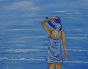 Lady In Lake Painting Posters - Beach Bliss Poster by Leslie Allen
