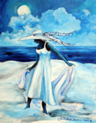 Gullah Art Posters - Beach Blues Poster by Diane Britton Dunham