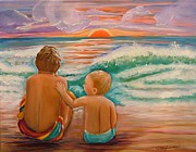 Buddies Paintings - Beach Buddies by Carol Allen Anfinsen