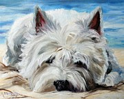 Westie Art Posters - Beach Bum Poster by Mary Sparrow Smith