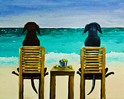 Dogs Painting Metal Prints - Beach Bums Metal Print by Roger Wedegis