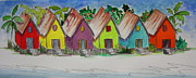 Tin Roof Paintings - Beach Bungalows by Jan Prewett