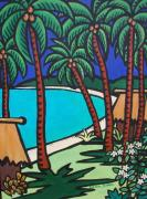 Coconut Trees Paintings - Beach bures by Karen Bower