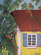 Key West Paintings - Beach Cabana by Jan Prewett