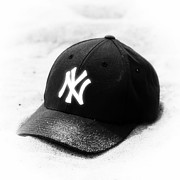 Ny Yankees Baseball Art Prints - Beach Cap black and white Print by John Rizzuto