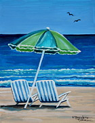Elizaart Posters - Beach Chair Bliss Poster by Elizabeth Robinette Tyndall
