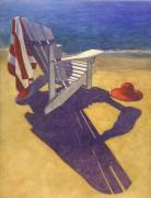 Seascape Pastels Posters - Beach Chair Poster by Robert Casilla