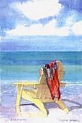 Siesta Key Paintings - Beach Chair by Shawn McLoughlin