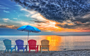 Umbrella Posters - Beach Chairs Poster by Brian Mollenkopf