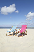 Aquitaine Metal Prints - Beach Chairs, Carcans, Gironde, Aquitaine, France Metal Print by Photo Division