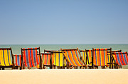 Long Bed Posters - Beach chairs colorful  Poster by Panupong Roopyai