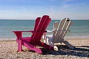 Beach Chairs Posters - Beach Chairs Poster by David Lee Thompson