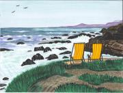 Cambria Paintings - Beach Chairs in Cambria by Sea Sons Home and Life