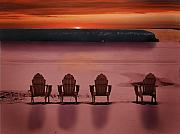 Jim Wright Art - Beach chairs by Jim Wright