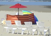 Lazy Digital Art Metal Prints - Beach Chairs Metal Print by Lori Seaman