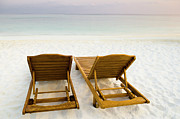 Maldives Framed Prints - Beach Chairs, Maldives Framed Print by Ulana Switucha