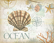 Nautical Painting Prints - Beach Collage B Print by Grace Pullen