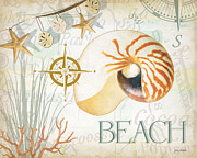 Nautical Mixed Media Framed Prints - Beach Collage Framed Print by Grace Pullen