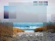 Sea Oats Digital Art Prints - Beach Collage Print by Steve Karol
