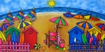 Beach Huts Posters - Beach Colours Poster by Lisa  Lorenz