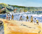 Tourist Painting Originals - Beach Cricket by Richard Jules