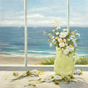 Beach Window Painting Framed Prints - Beach Daisies in Yellow vase Framed Print by Tina Obrien