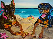 Doberman Paintings - Beach Dawgs by Sandra Goldner