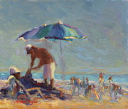 Sun Rays Painting Prints - Beach Day Print by Michael Besoli