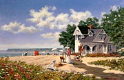 Boardwalk Paintings - Beach Days by Michael Swanson
