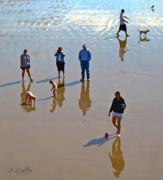 Dog Walking Digital Art Posters - Beach Family Poster by Patricia Stalter