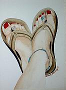 Flip-flops Paintings - Beach Feet by Anna Penny