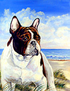 French Bulldog Paintings - Beach Frenchie - French Bulldog by Lyn Cook