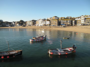 Fishing Boat Reflection Prints - Beach Front, St Ives, Cornwall Print by Thepurpledoor