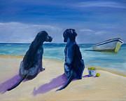 Beach Girls Print by Roger Wedegis