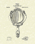 Mirror Drawings Metal Prints - Beach Hand Mirror 1910 Patent Art Metal Print by Prior Art Design