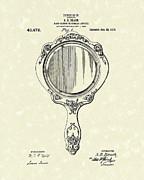 Beach Hand Mirror 1910 Patent Art Print by Prior Art Design