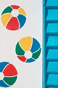 Brighton Beach Posters - Beach House - Beach ball II Poster by Hideaki Sakurai