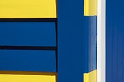 Brighton Beach Prints - Beach House - Blue White Yellow V Print by Hideaki Sakurai