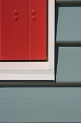 Brighton Beach Posters - Beach House - Red Gray White Poster by Hideaki Sakurai