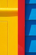 Melbourne Beach Prints - Beach House - Yellow Blue with Red line V Print by Hideaki Sakurai