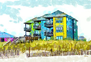 Atlantic Ocean Drawings Prints - Beach House at the Outer Banks Print by Anne Kitzman