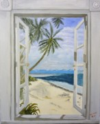 Beach Window Painting Framed Prints - Beach House Framed Print by Beverly Hanni