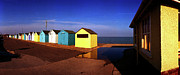 Britain Ww2 Posters - Beach Houses at Felixstowe Poster by Jan Faul