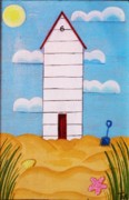 Beach Hut Paintings - Beach Hut by Tracey Kemp