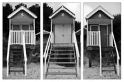 Hut Framed Prints - Beach hut triptych Framed Print by John Edwards